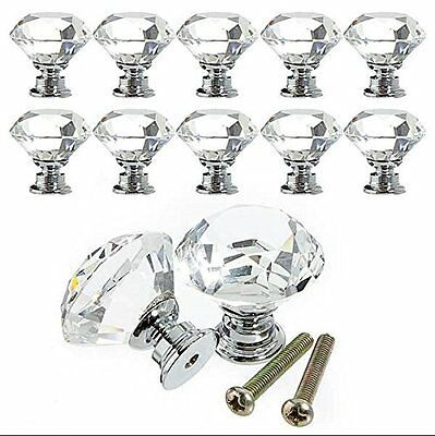 Yazer 10PCS Diamond Shape Crystal Glass 30mm Drawer Knob Pull Handle Used for