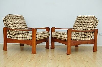 Pair of Vintage DANISH TEAK Armchairs Lounge Chair Design Mid Century Renovated
