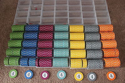 Roulette chip sets 7 colours x 100 chips