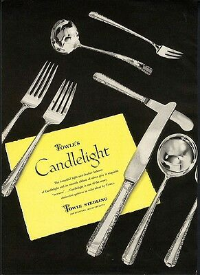 CANDLELIGHT Silverware Ad by TOWLE STERLING Silver 1950 Paper Advertisement
