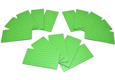 Genuine LEGO Base Plate 8x16 MiniFigure - LOT of 15 - BRIGHT GREEN Thin - NEW