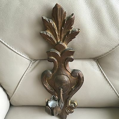 Antique Vintage Art Nouveau Wooden Gilded Tulip Wall Candle Holder Spanish