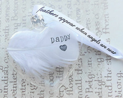 White Feather Any Name Date Glass Heart Bauble / Personalised Condolence Gift