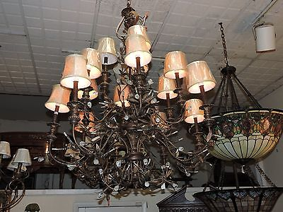 Wrought Iron & Crystal Chandelier from Crystal New in Box  (15-Light)