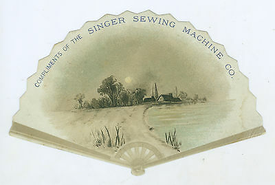 Vintage Singer Sewing Machine Fan Shaped Advertising Card, Rochester, NY