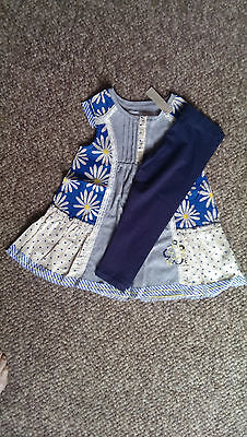 NEXT Signature Gorgeous Daisy Print Floral Smock Top & Navy leggings age 4 BNWT