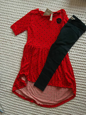 Next Gorgeous Long Red Spotty Top & Navy Leggings 4-5 BNWT