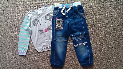 NEXT Gorgeous Mouse Top With Matching Mouse Jeans age 4-5 BNWT