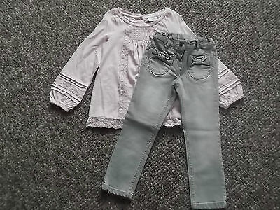 NEXT Gorgeous Pink Corsage Smock Top & Grey Skinny Jeans 4-5 BNWT