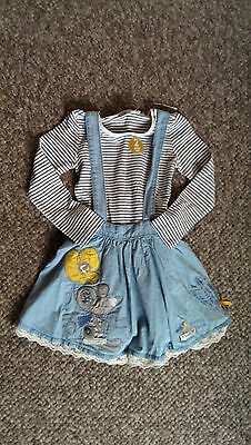 NEXT Gorgeous Mouse Dungaree Skirt & Long Sleeved Striped Top age 2-3