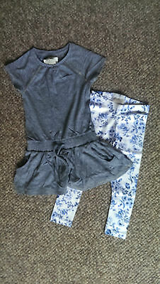NEXT Gorgeous Grey Smock Top & Floral Print leggings age 4 (3-4) BNWT