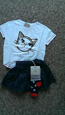 Next Gorgeous Denim Shorts, White Cat Face Top &Spotty/ Stripe Tights 4-5 BNWT