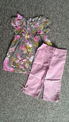 NEXT Gorgeous Butterfly Print Smock Top &  Dusky Pink Crop Pants age 3-4 BNWT