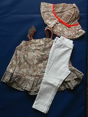 NEXT Gorgeous Beige Floral Smock Top With White Pants & Matching Hat BNWT 2-3