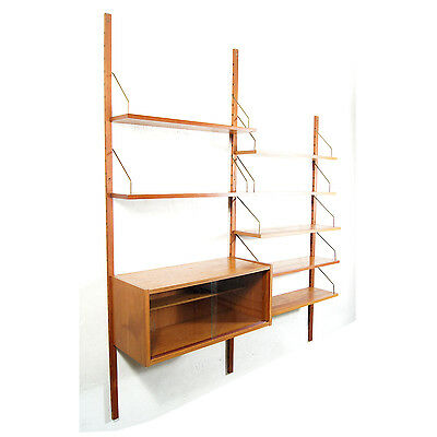 Retro Vintage Danish Teak Wall Shelving Unit System Bookcase Shelves 60s 70s
