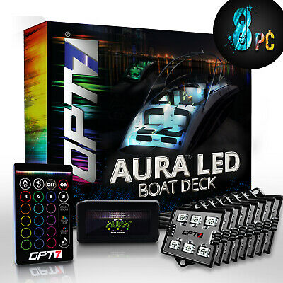 AURA LED 8pc Boat Interior Lighting Kit with Multi-Color Light Features+Remote
