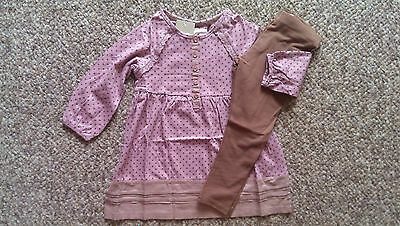 NEXT Gorgeous  Dusky Pink Spotty Smock Top & Brown leggings 2-3 BNWT
