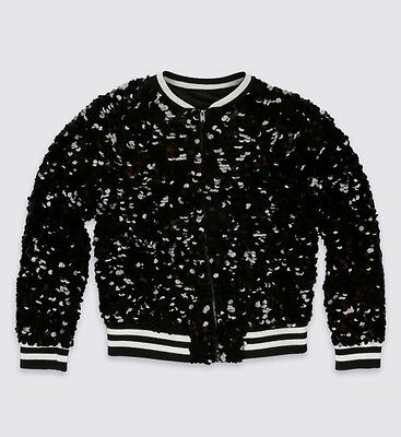 Marks And Spencer Young Girls Black Sequin Bomber Jacket BNWT Size 9-10 Years