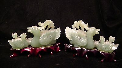 Antique Pair of Chinese Carved Jade Stone Bird Statues on Pedestals.