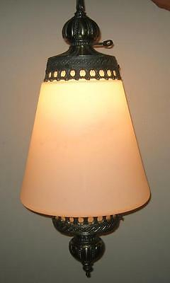 Vintage Lightcraft Mid Century Hollywood Regency Hanging SWAG LAMP Frosted Glass