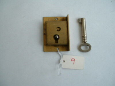 "1 x Old  solid brass Lock & original key Unused Old Stock  1 1/2"" x 1 x 3/8 r/h"