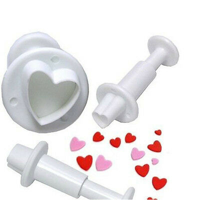 Hot 3Pcs Heart Fondant Cookies Sugar Paste Plunger Cutters Cake Mold Mould Tools