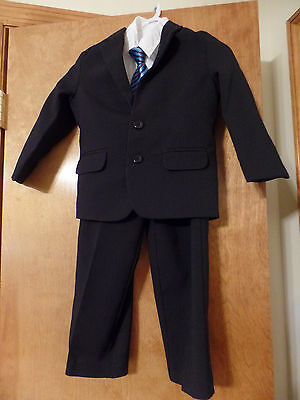 Formal or Casual Boy Kids size 4T Suit Black White Pinstripe Shirt Tie and Suit