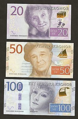 2015 Sweden 20 / 50 / 100  Kronor New Series Uncirculated Set