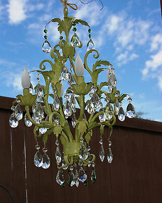 Vintage Crystal Toleware Chandelier, 4 Bulbs & Large Crystals, Green Unique