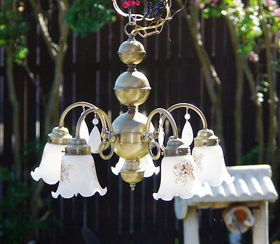 Vtg 5 Arm Chandelier Golden Metal, White Crystal Prisms, Ruffled Glass Shades