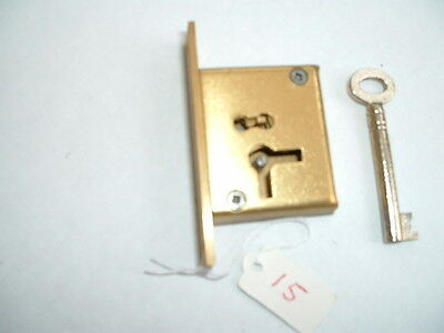 "1 x Old solid brass mortise Lock & key Unused Old Stock  2 1/ 2"" x 1 3/8"" x 1/2"""