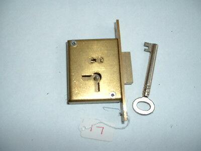 "1 x Old solid brass mortise Lock & key Unused Old Stock 3"" x 1 5/8"" x 1/2"""