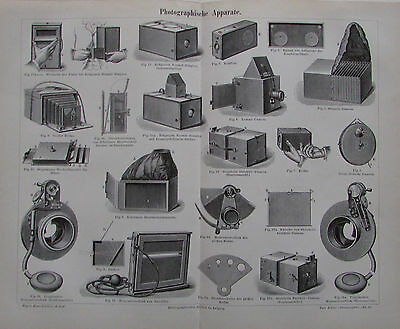 1892 PHOTOGRAPHISCHE APPARATE alter Druck Antique Print Lithografie Photographie