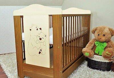 Baby cot with drawer/ baby cots/ 3 colours + free mattress theme bear