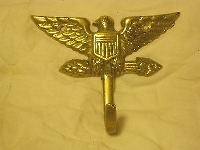 vintage brass hook ornate eagle w/ arrows arrow winged bird shield