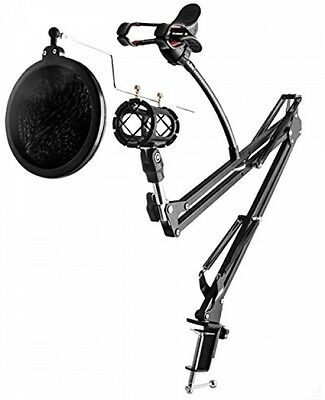 Microphone and Phone Holder Kit,Ouonline Professional 360°Adjustable Metal And