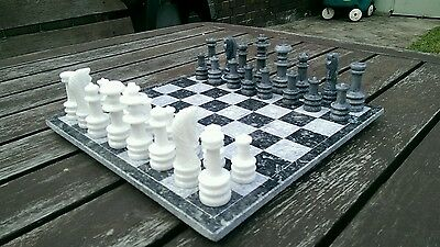 NEW Marble Chess Set. HAND CRAFTED: board 30cm x 30cm: king 7.7cm