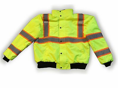 Reflective Bomber Rain Jacket Insulated Class 3 High Visibility Flagger Force