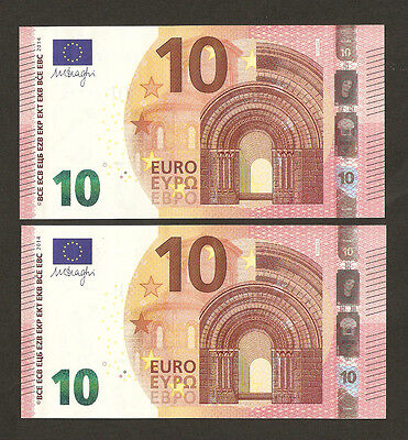 2 x 2014 New Series 10 Euro With Serial Number Almost All Matching Uncirculated