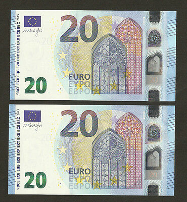 2 x Germany €20 Euro Mario Draghi's Signed ~ Ending 3 Digit Serial Matching 666