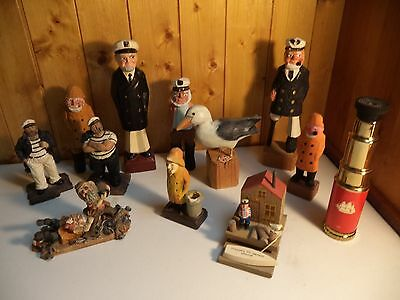 """Nice 12pc Lot of WOOD CARVED SEA CAPTAIN SAILOR NAUTICAL FIGURINES 10"""" Captains!"""