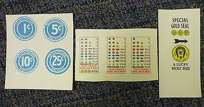 Watling Slot Machine Reproduction Payout Award Cards, Denomination Buttons