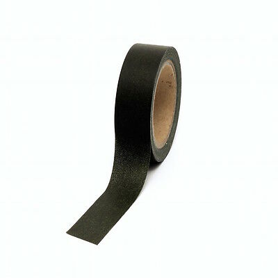 Black Washi Tape Plain Solid 15mm x 10m