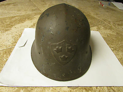 Rare Swedish 3 CROWNS Steel WWII Military Helmet With Liner & chin stap