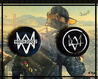 Watch Dogs 2 Pins Buttons Badges Set of 2