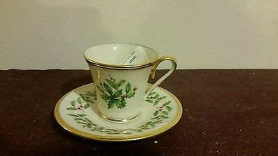 Lenox Dimension Collection Holiday Pattern Tea Cup & Saucer Made In Usa