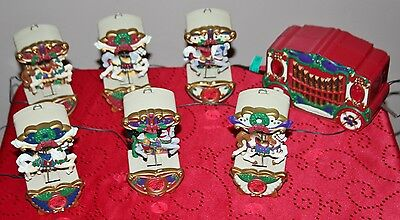 Vintage MR CHRISTMAS HOLIDAY CAROUSEL MUSICAL LIGHTED MOTION HORSES Works