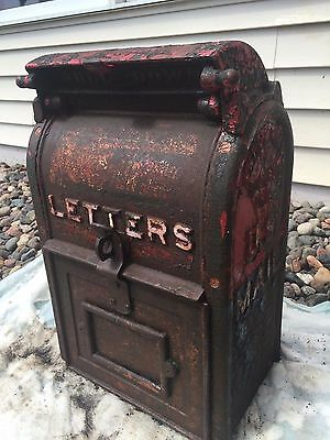 Very Rare Antique 1928 Cast Iron Mailbox Shunk Mfg Co Of Bucyrus, Ohio
