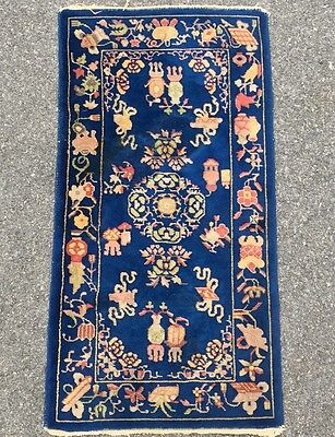 Gorgeous 1930's Deep Blue Hand Knotted Chinese Art Deco Scatter Rug. 100% Wool.