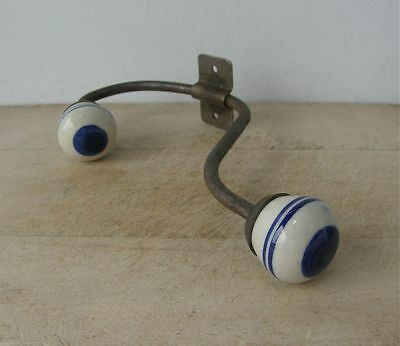 ONE 1 FRENCH COAT HOOK Cobalt Blue & White Striped Porcelain Ceramic Knobs 1940s